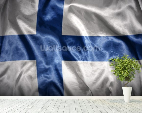 Finland Flag wall mural room setting