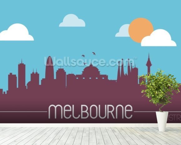 Melbourne Skyline Illustration mural wallpaper room setting