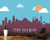 Melbourne Skyline Illustration mural wallpaper kitchen preview