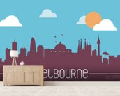 Melbourne Skyline Illustration mural wallpaper living room preview
