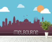 Melbourne Skyline Illustration mural wallpaper in-room view