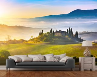 Tuscany at Sunrise mural wallpaper