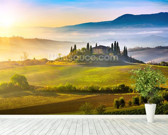 Tuscany at Sunrise mural wallpaper room setting