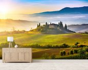 Tuscany at Sunrise mural wallpaper living room preview
