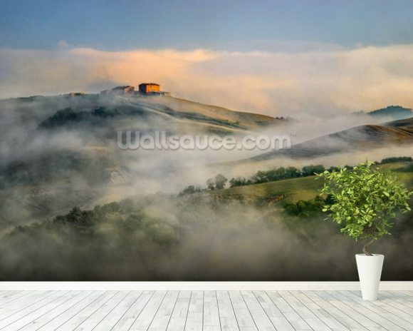 Misty Landscape, Tuscany wallpaper mural room setting