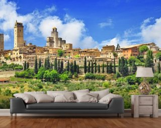 Beautiful San Gimignano, Tuscany wall mural