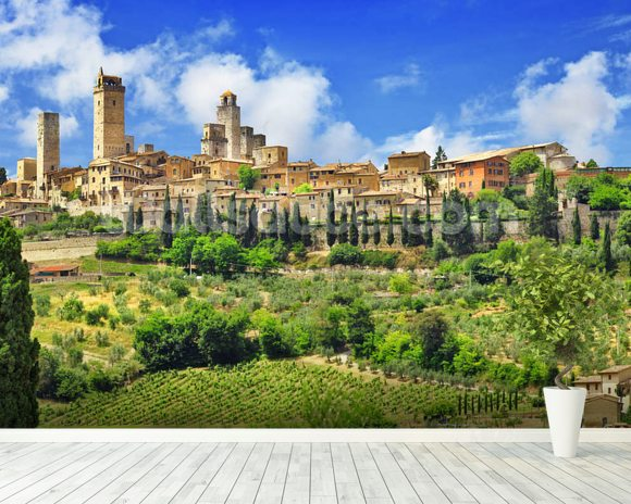 beautiful san gimignano tuscany wallpaper wall mural
