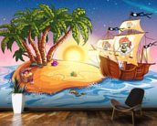 Treasure Island Sunset mural wallpaper kitchen preview