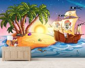 Treasure Island Sunset mural wallpaper living room preview