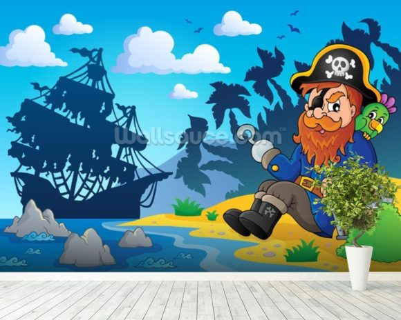 Pirate on Shore wallpaper mural room setting
