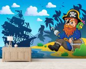 Pirate on Shore wallpaper mural living room preview