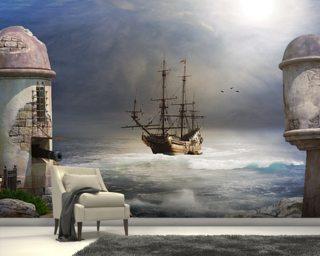 Amazing Pirate Ship At Sea Wall Mural Wallpaper Part 29