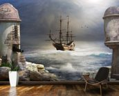 Pirate Ship at Sea wallpaper mural kitchen preview