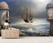 Pirate Ship at Sea wallpaper mural living room preview