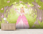 Princess in Enchanted Woodland wallpaper mural living room preview