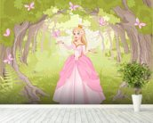 Princess in Enchanted Woodland wallpaper mural in-room view