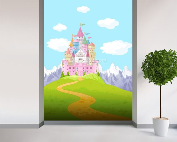 Fairytale Castle Landscape mural wallpaper room setting