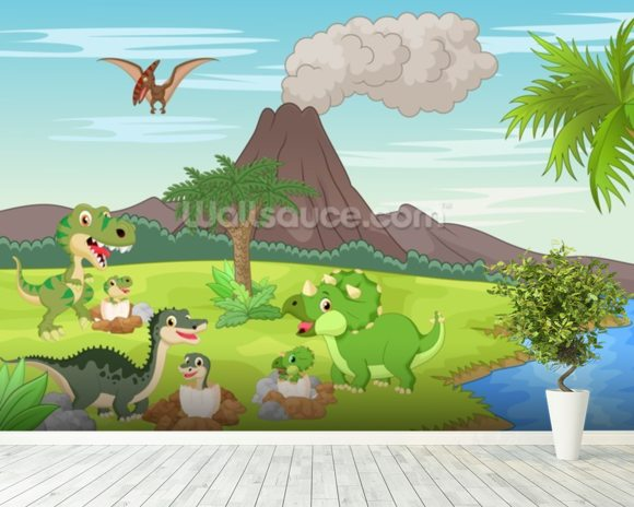 Baby dinosaurs volcano wallpaper wall mural wallsauce usa for Baby mural wallpaper