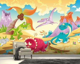 Dinosaurs Cartoon Wall Mural Wallpaper Wall Murals Wallpaper