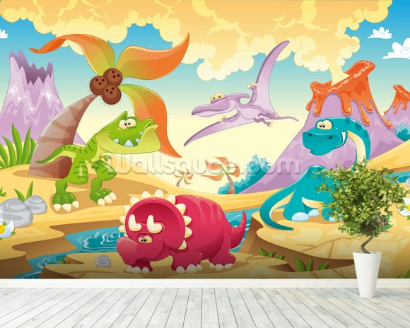 Dinosaurs cartoon wallpaper wall mural wallsauce uk for Dinosaur pictures for kids room