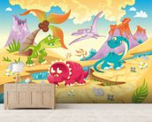 Dinosaurs Cartoon wall mural living room preview