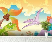 Dinosaurs Cartoon wall mural in-room view