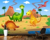 Fun Dinosaurs mural wallpaper kitchen preview