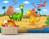 Fun Dinosaurs mural wallpaper living room preview