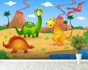 Fun Dinosaurs mural wallpaper in-room view