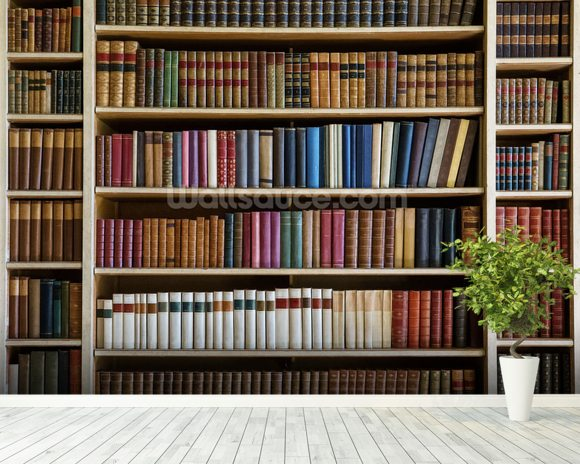 Old books bookcase wallpaper wall mural wallsauce usa for Bookshelf wall mural