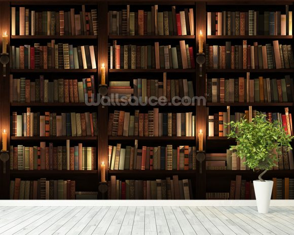 Bookcase and candles wallpaper wall mural wallsauce for Bookshelf mural wallpaper