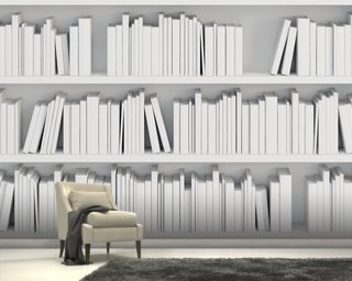Bookcase with White Books Mural Wallpaper Wall Murals Wallpaper