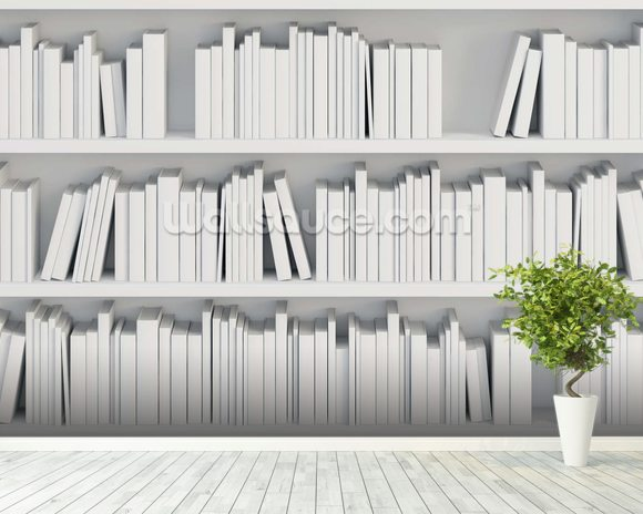 Bookcase With White Books Wallpaper Wall Mural