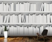 Bookcase with White Books mural wallpaper kitchen preview