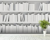 Bookcase with White Books mural wallpaper in-room view