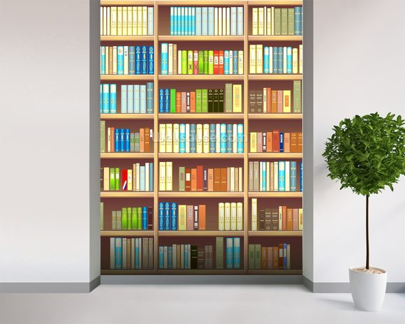 Colourful bookcase wallpaper wall mural wallsauce for Bookshelf mural wallpaper