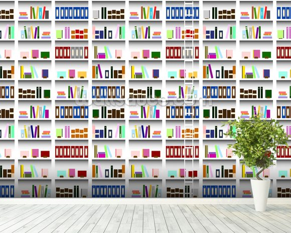 Bookcase - Digital wallpaper mural room setting