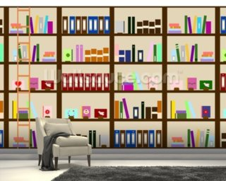 Modern Bookcase Illustration wall mural