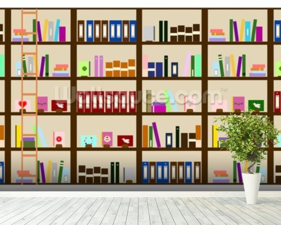Modern bookcase illustration wallpaper wall mural for Bookcase wallpaper mural