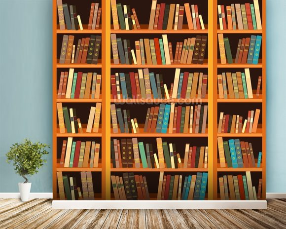 Bookcase - Light wallpaper mural room setting