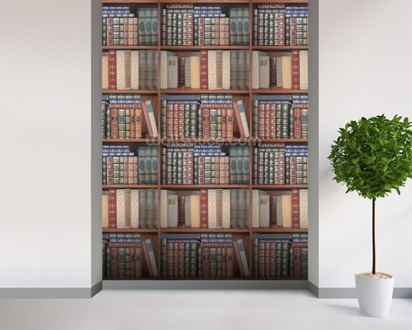 Repeating Books mural wallpaper room setting