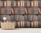 Repeating Books mural wallpaper living room preview