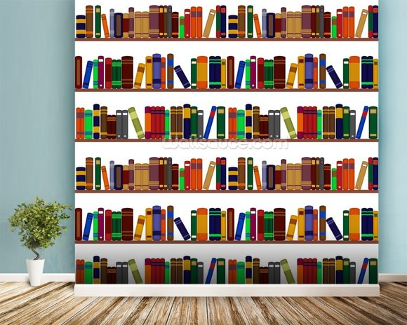 Bookshelf Illustration wallpaper mural room setting
