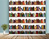 Bookshelf Illustration wallpaper mural in-room view