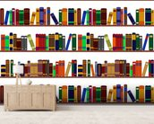 Bookshelf Illustration wallpaper mural living room preview