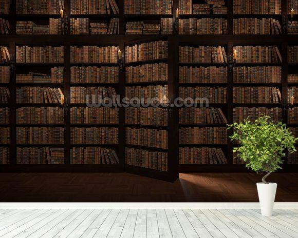 Secret bookcase door wallpaper wall mural wallsauce for Bookshelf wall mural