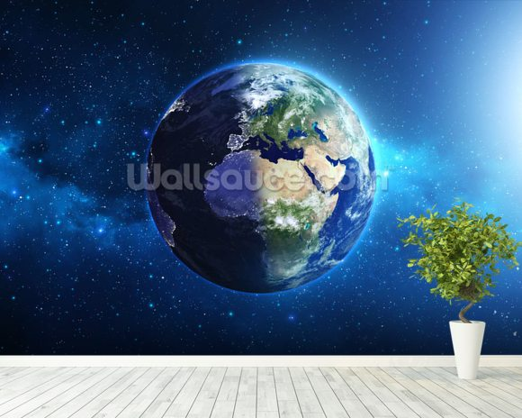 Planet Earth mural wallpaper room setting