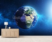 Planet Earth mural wallpaper living room preview