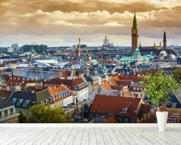Copenhagen Skyline wallpaper mural room setting
