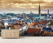 Copenhagen Skyline wallpaper mural living room preview
